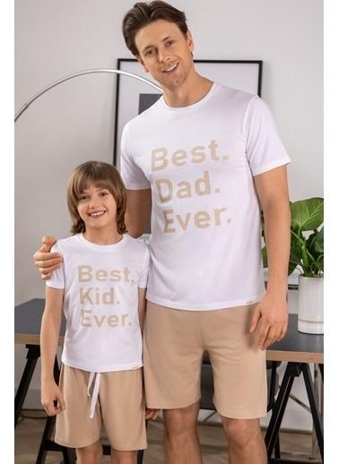 Katia & Bony En iyi Çocuk Baskılı Erkek Çoçuk şortlu Pijama Takımı - Beyaz Beyaz